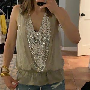 Sequined blouse with sheer layer